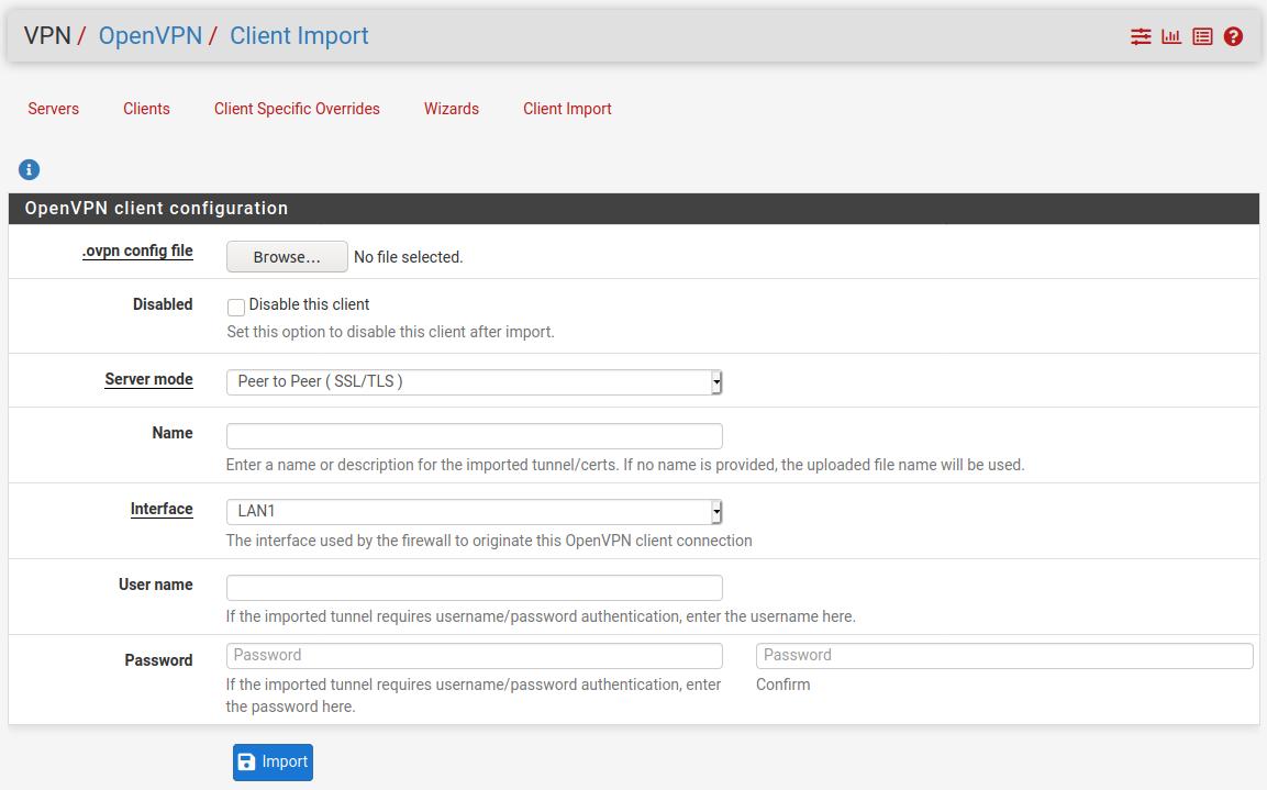 OpenVPN Client Import Screenshot