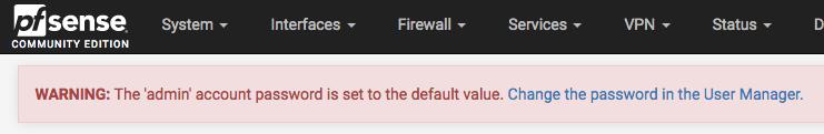 Default Password Warning