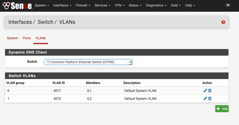 Interfaces > Switch > VLANs (1)