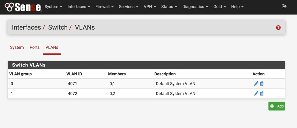 Interfaces > Switch > VLANs