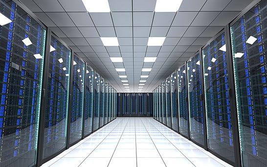 3d rendering of data center corridor