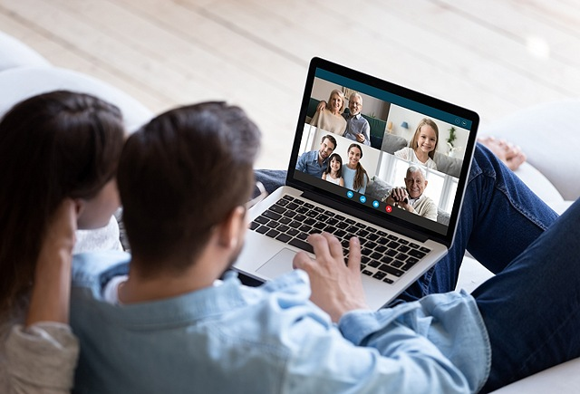 family chatting over video platform