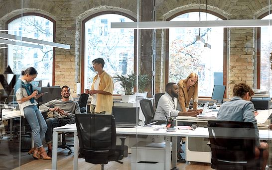 team working in open office setting