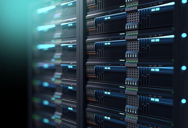 3D illustration of super computer server racks in datacenter