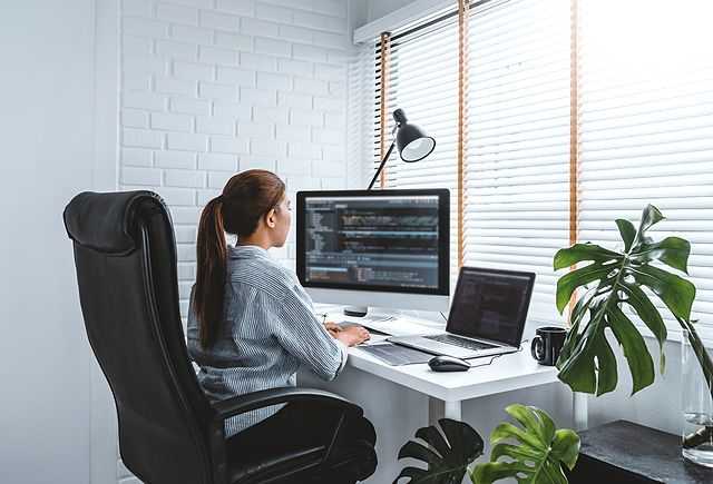 web developer working at home