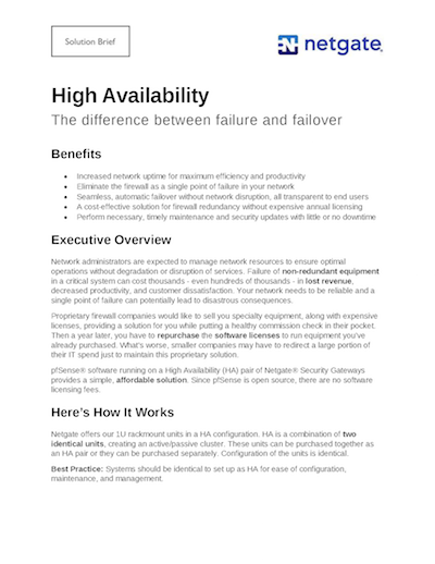 Front page preview of High Availability Solution Brief