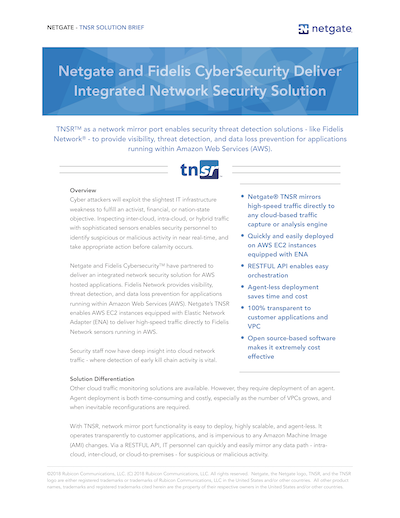 Front page preview of TNSR and Fidelis CyberSecurity Deliver Integrated Network Security Solution Solution Brief