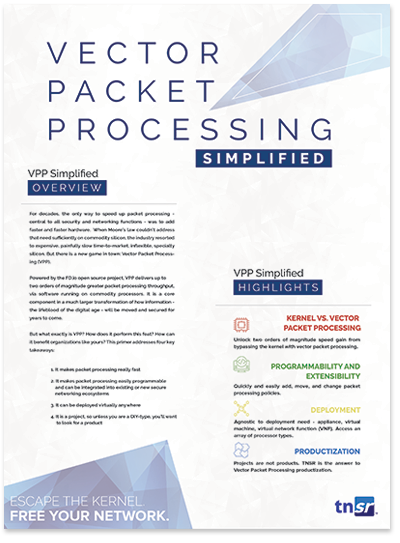 Front page preview of Vector Packet Processing Simplified Solution Brief