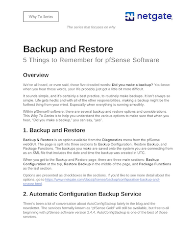 Front page preview of Backup and Restore for pfSense Technical Paper