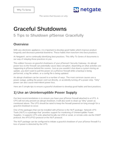 Front page preview of Graceful Shutdowns for pfSense Technical Paper