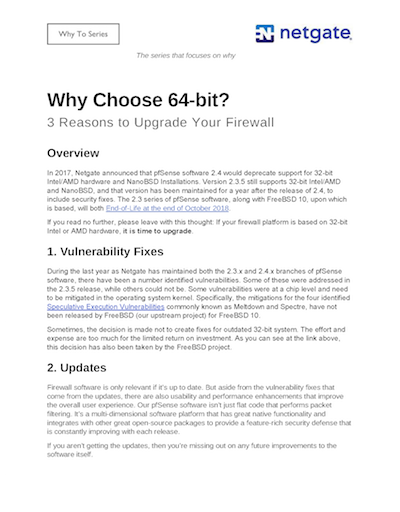 Front page preview of Why Choose 64-bit for pfSense? Technical Paper